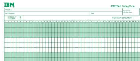 Fortran Coding Form