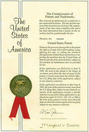 United States Patent Cover from a real patent ...